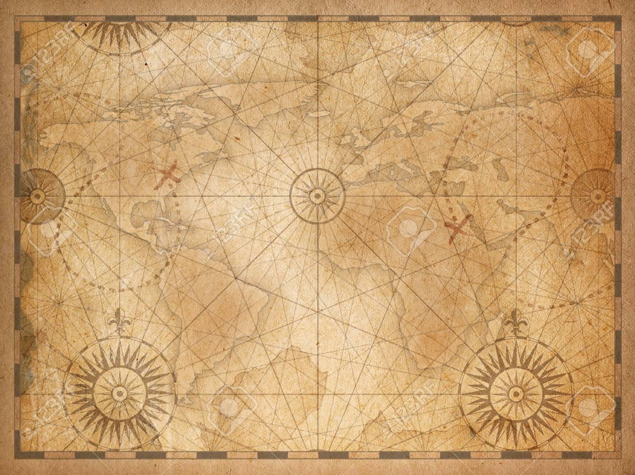 Vintage medieval nautical world map background - 112401227
