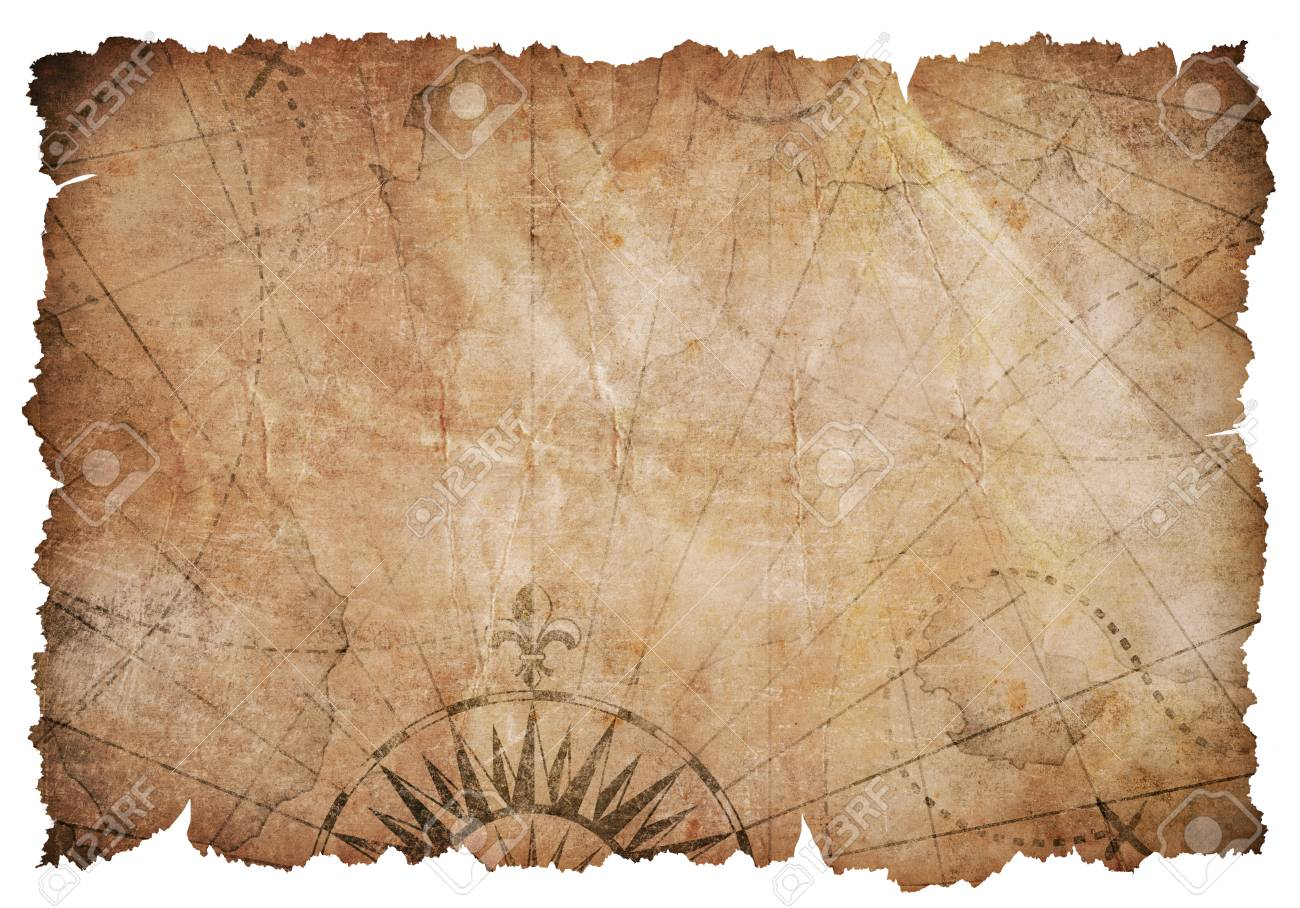 Old torn vintage nautical map - 112401233