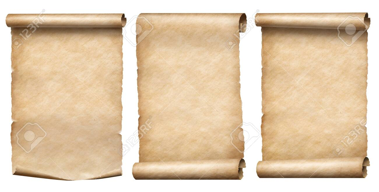 Old paper or parchment scrolls collection isolated on white - 131531041