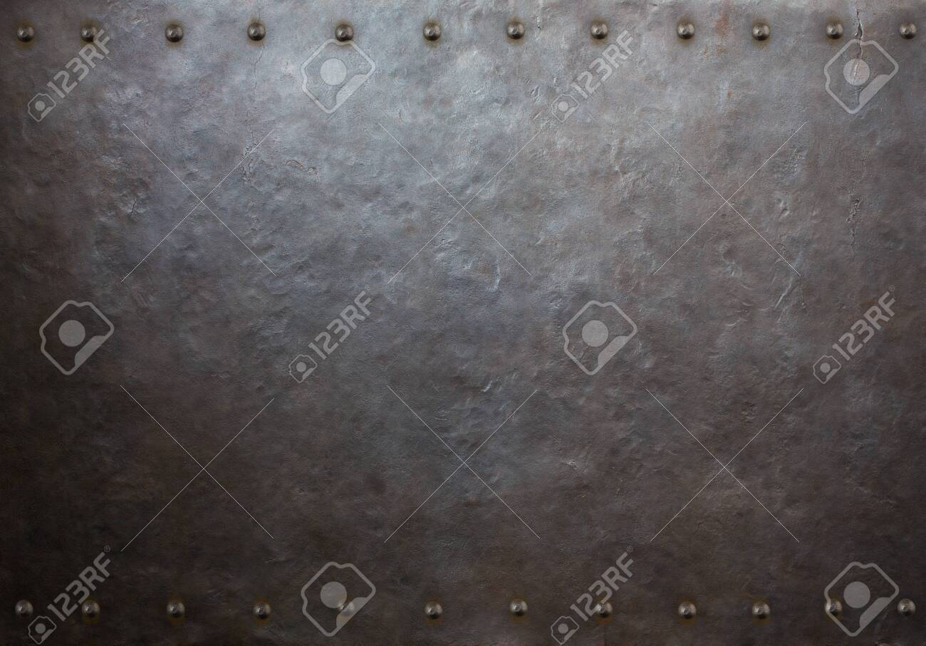rustic metal plate with rivets 3d illustration - 131531097