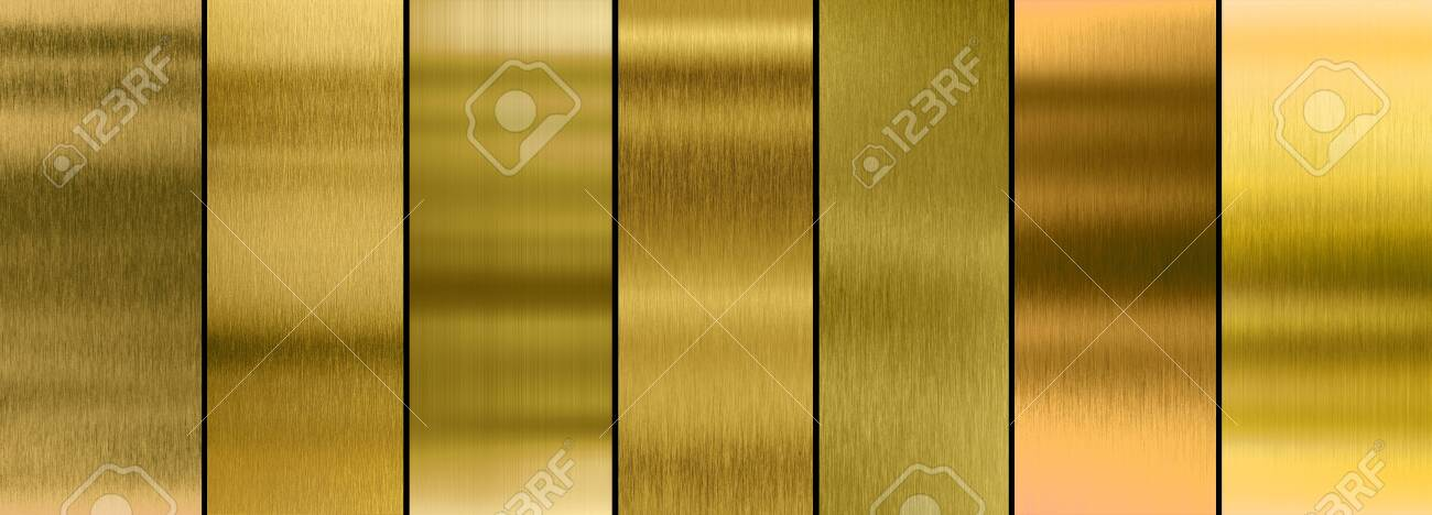Seven various brushed gold metal textures collection - 131536719