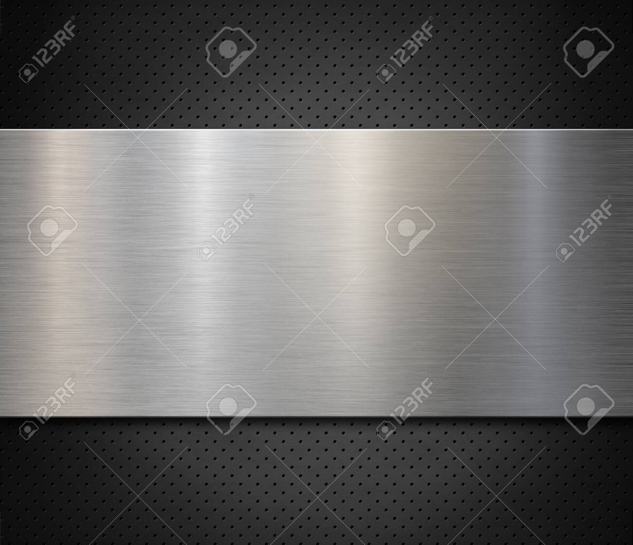 Brushed steel or aluminum metal panel over perforated background 3d illustration - 131312339