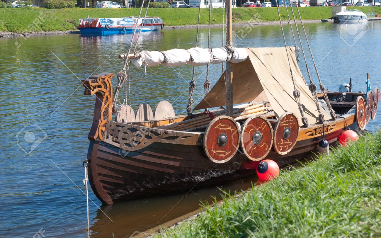 St. Petersburg, Russia - May 27, 2017: Moored Small Viking Ship ...
