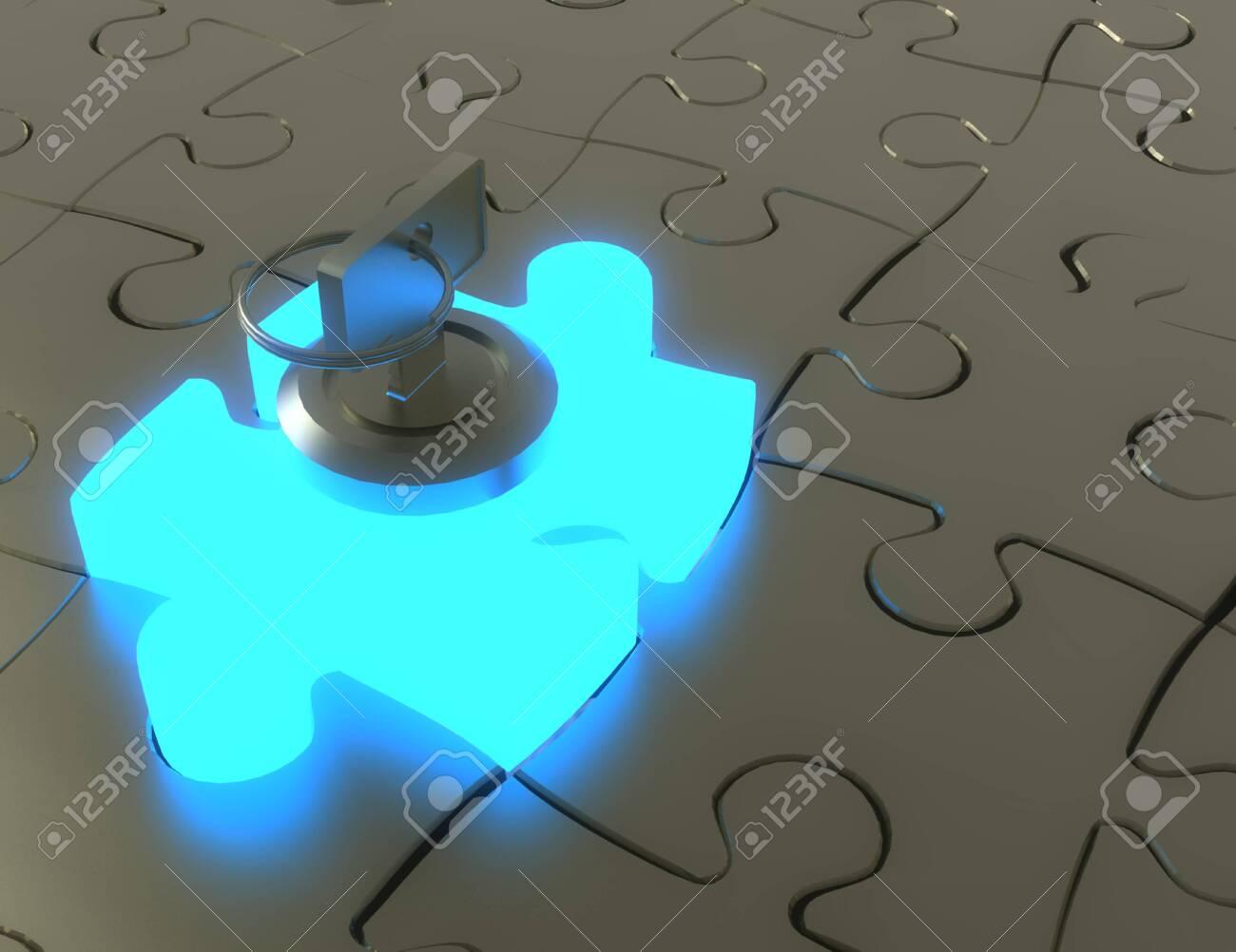 3d key and puzzle pieces .3d illustration - 146702619