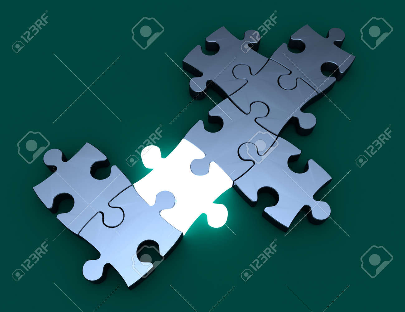 puzzle innovation concept. 3d illustration - 148146253
