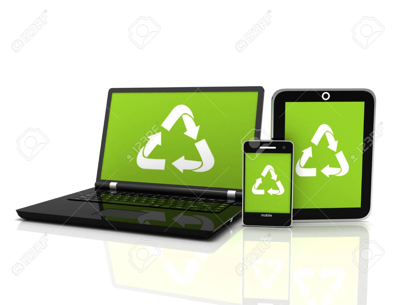 3D Laptop with a recycling symbol on screen. environmental conservation concept - 148840747