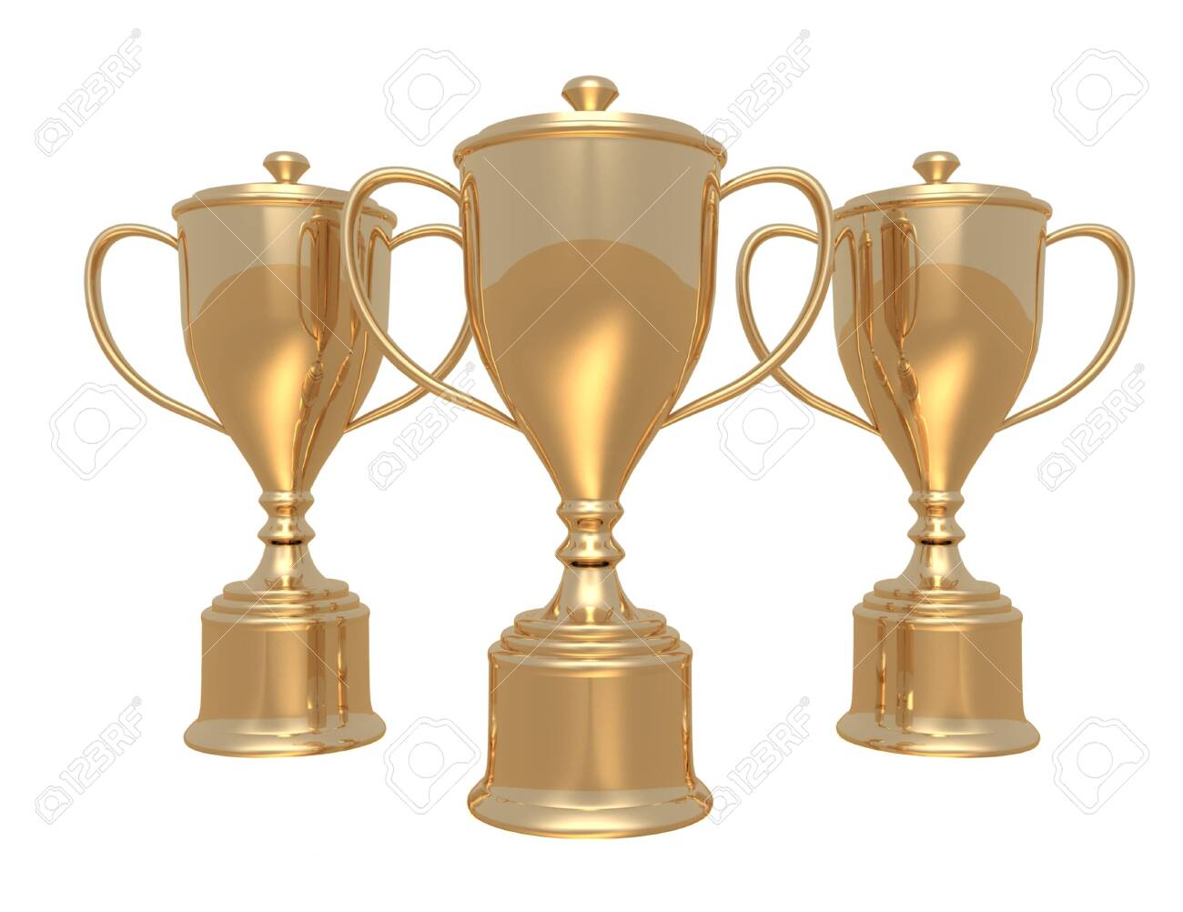 Golden trophy cups on white background - 151780677