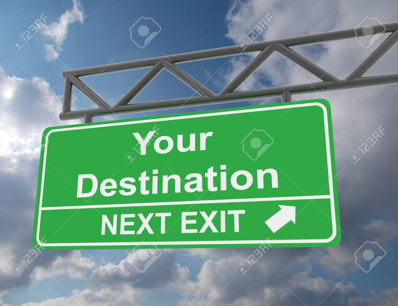 Green overhead road sign with a Your Destination - 151952208