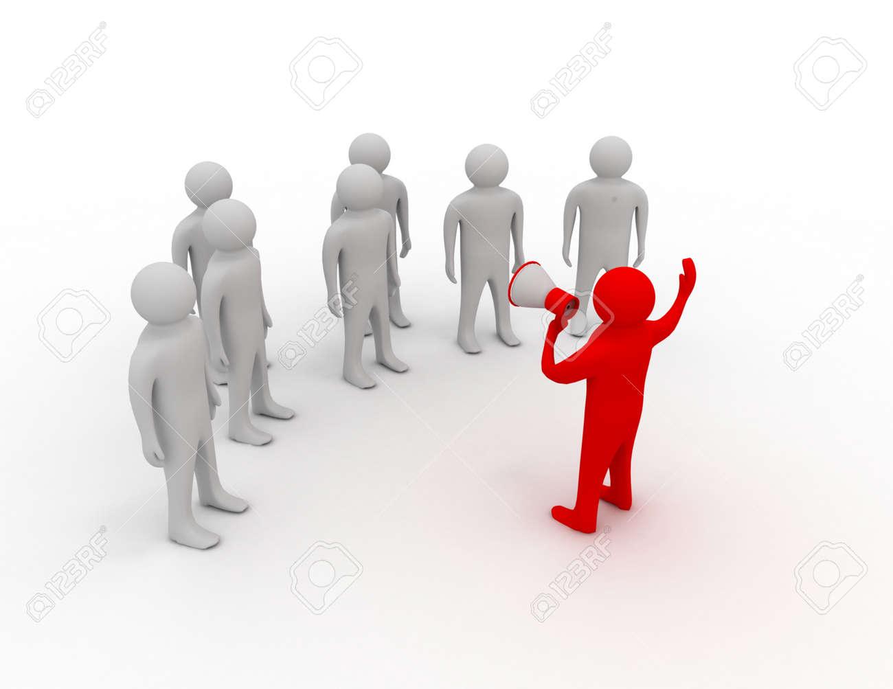 orator speaks in megaphone - 155500805