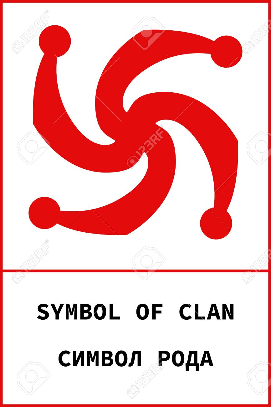 Vector ancient pagan slavic symbol symbol of clan with name on