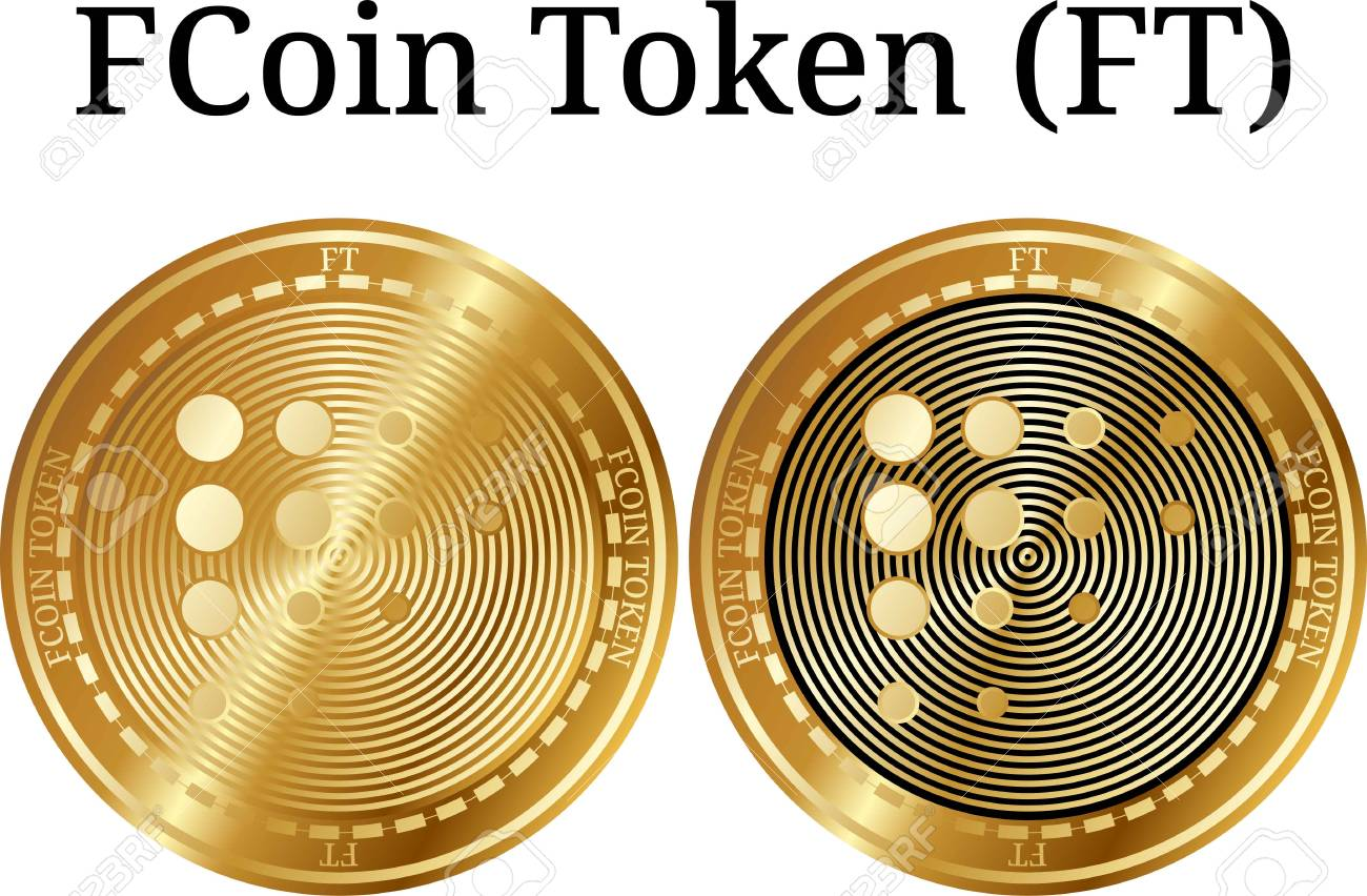 Set of physical golden coin FCoin Token (FT), digital cryptocurrency