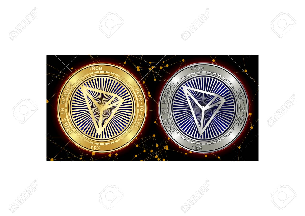Golden and silver Tron (TRX) cryptocurrency coins on blockchain