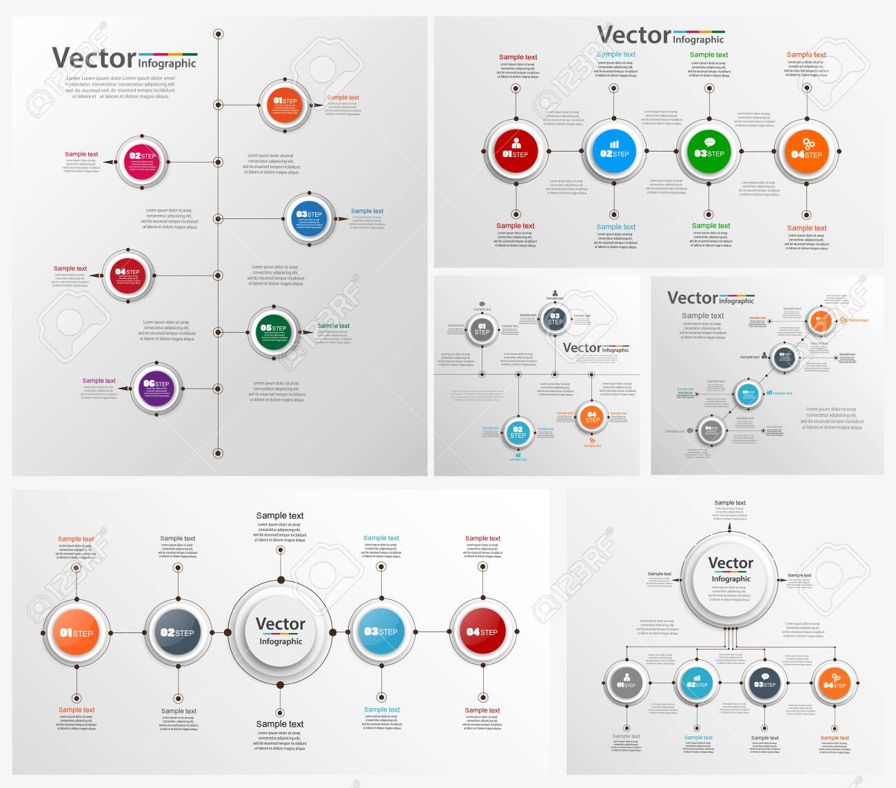 Collection of colorful infographic can be used for workflow layout, diagram, number options, web design. Infographic business concept with options, parts, steps or processes. - 129217391