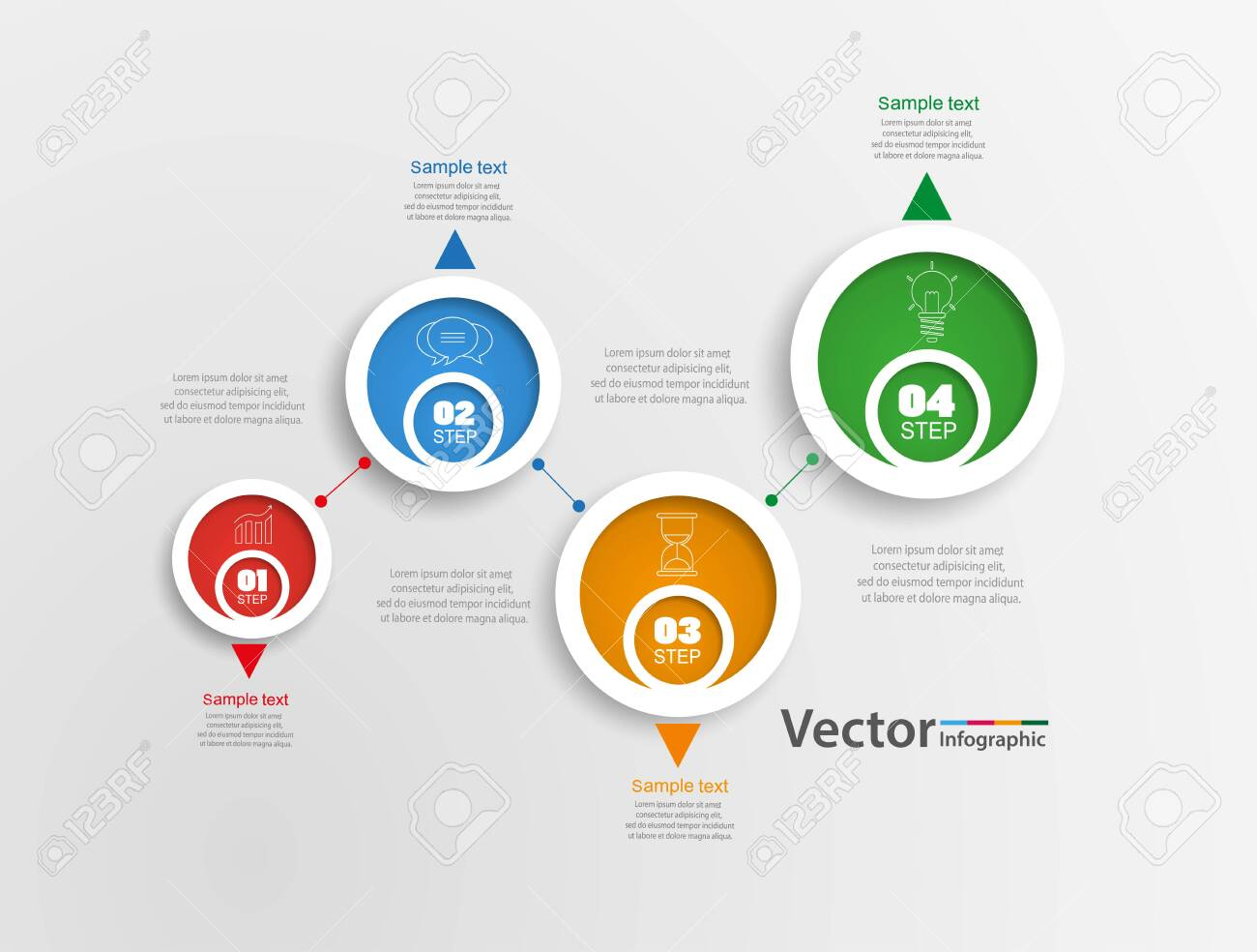 Infographics design template. Business concept with 4 steps or options, can be used for workflow layout, diagram, annual report, web design.Creative banner, label vector - 136220336