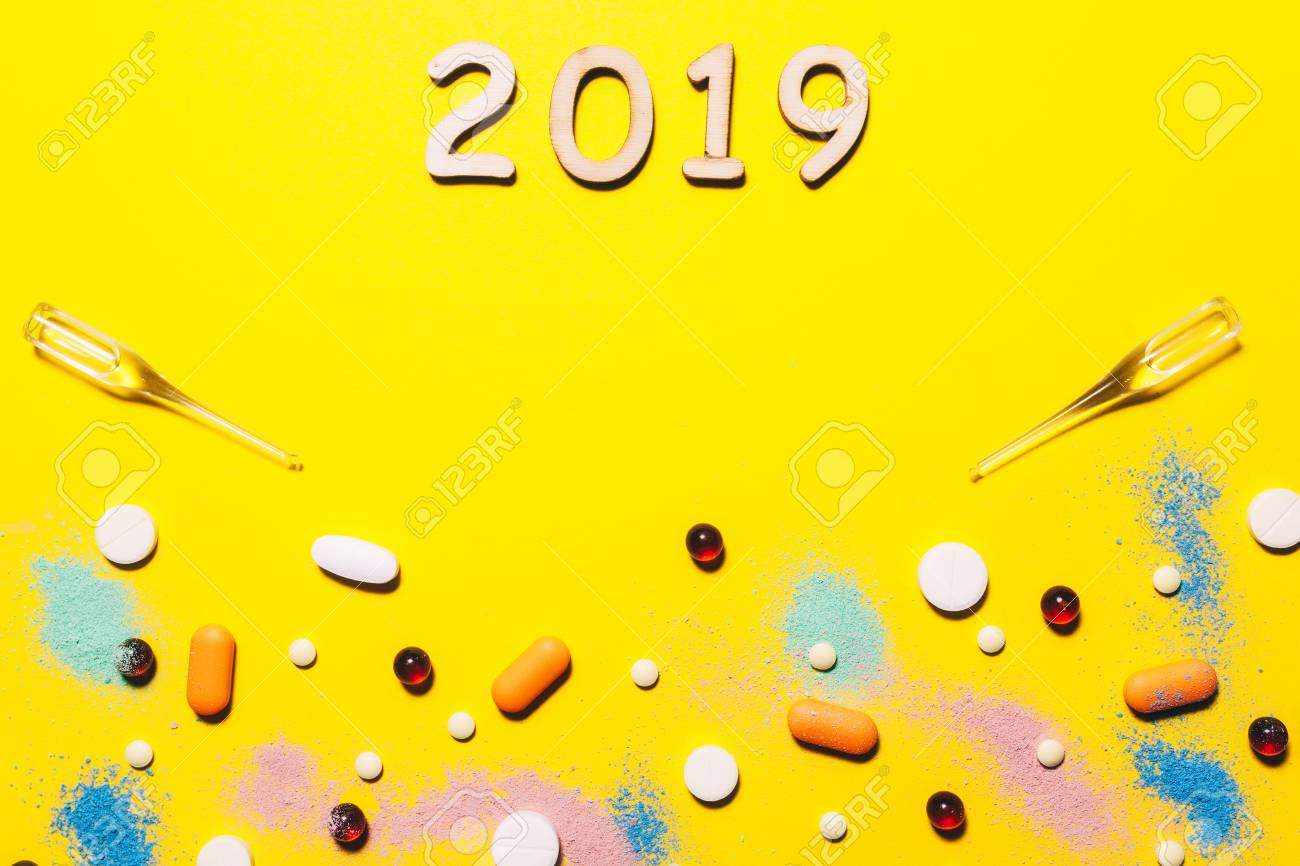 Yellow medical background Pharmaceutical Christmas and new year