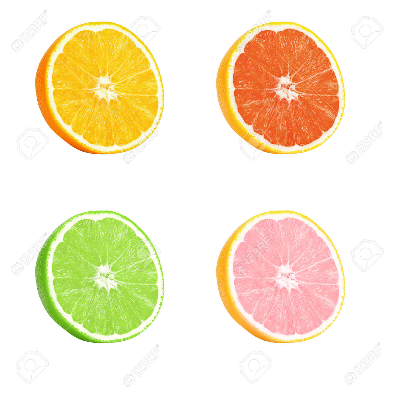 Isolated orange and lime. Several half ripe orange and lime isolated on a white background. Located on its side, a ripe juicy, bright pulp with texture and fibers is visible. - 150592869