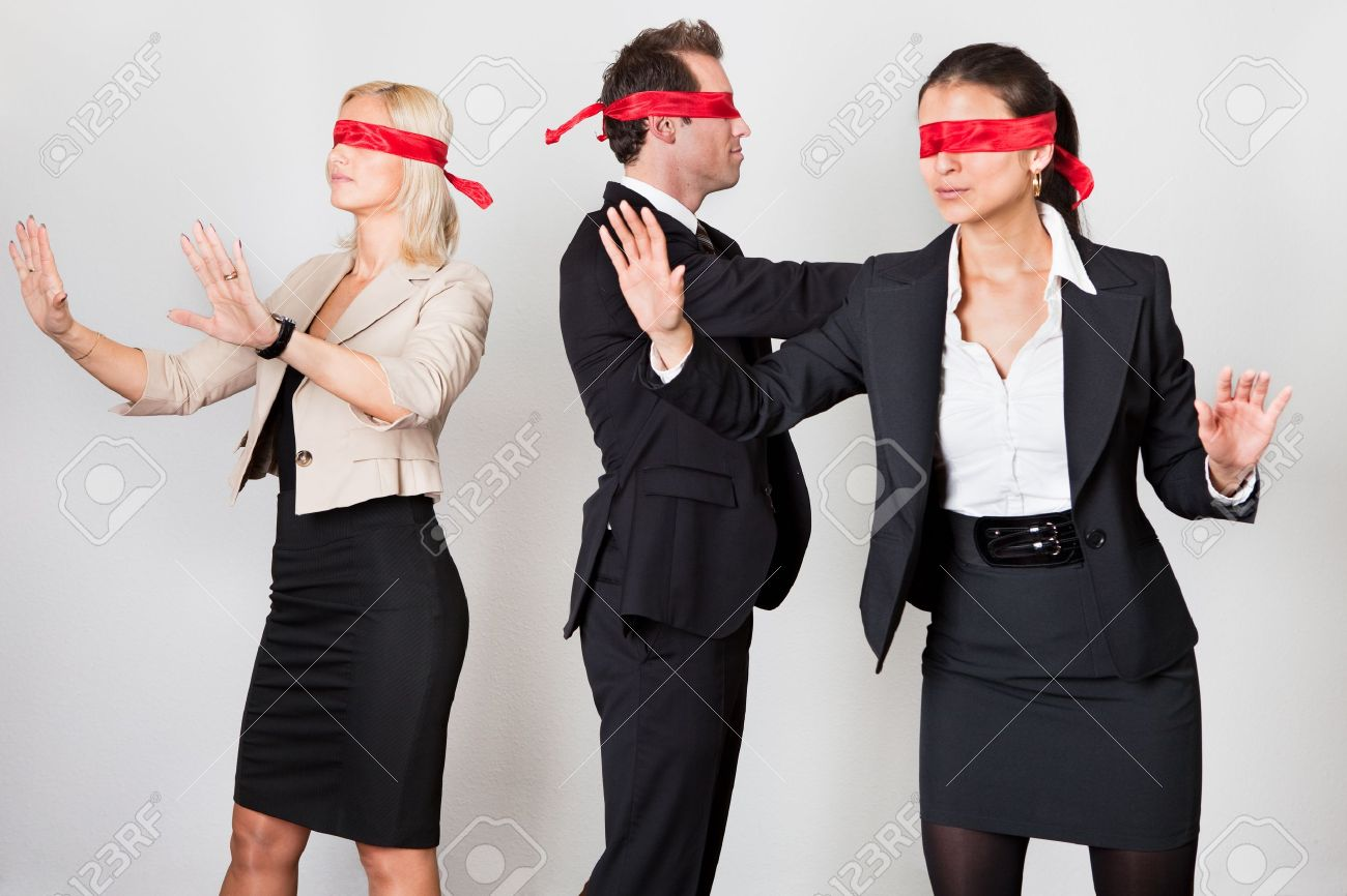 Group of disoriented businesspeople Stock Photo - 8856762