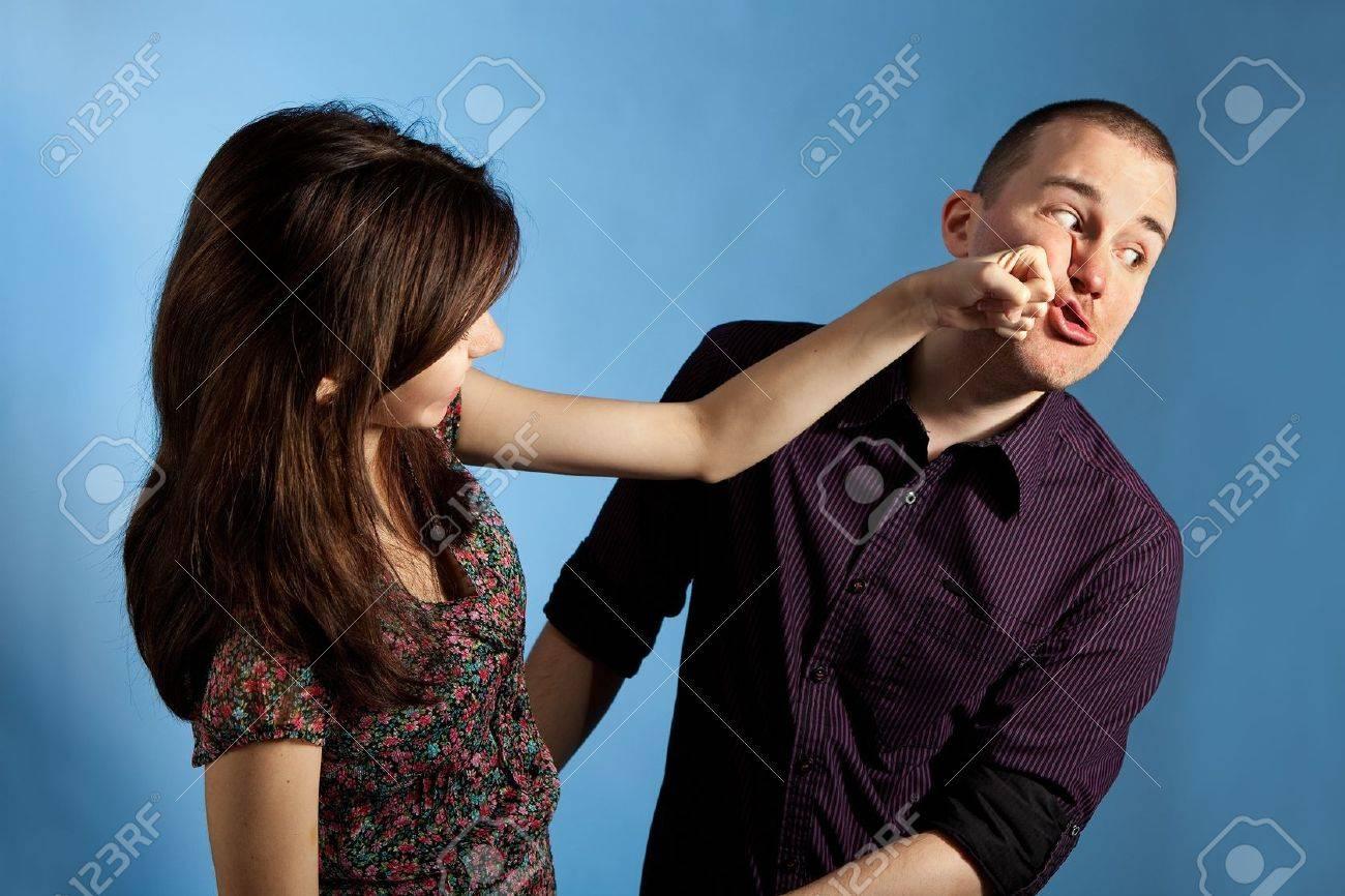 Women punching men Stock Photo - 10468665