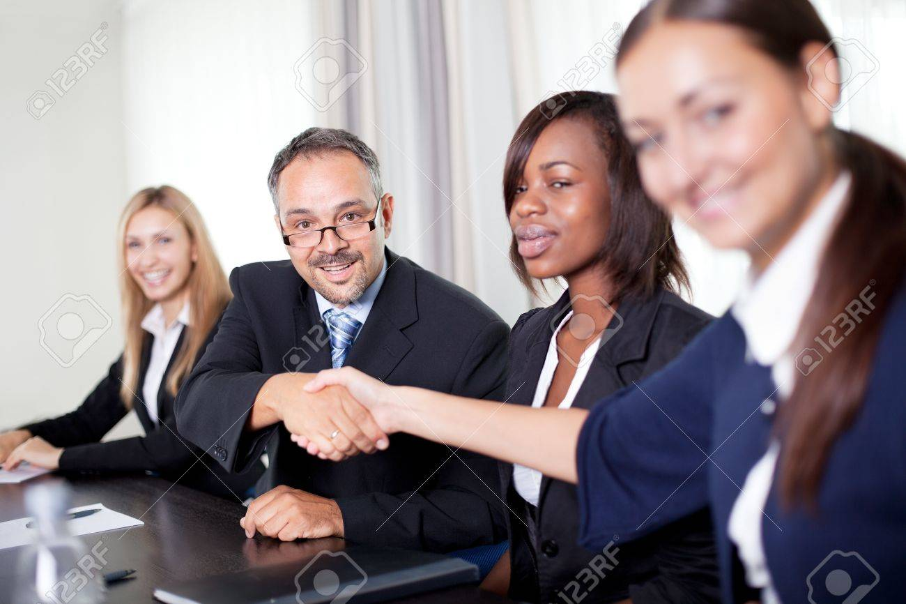 Image of business partners handshake on signing contract Stock Photo - 11079996