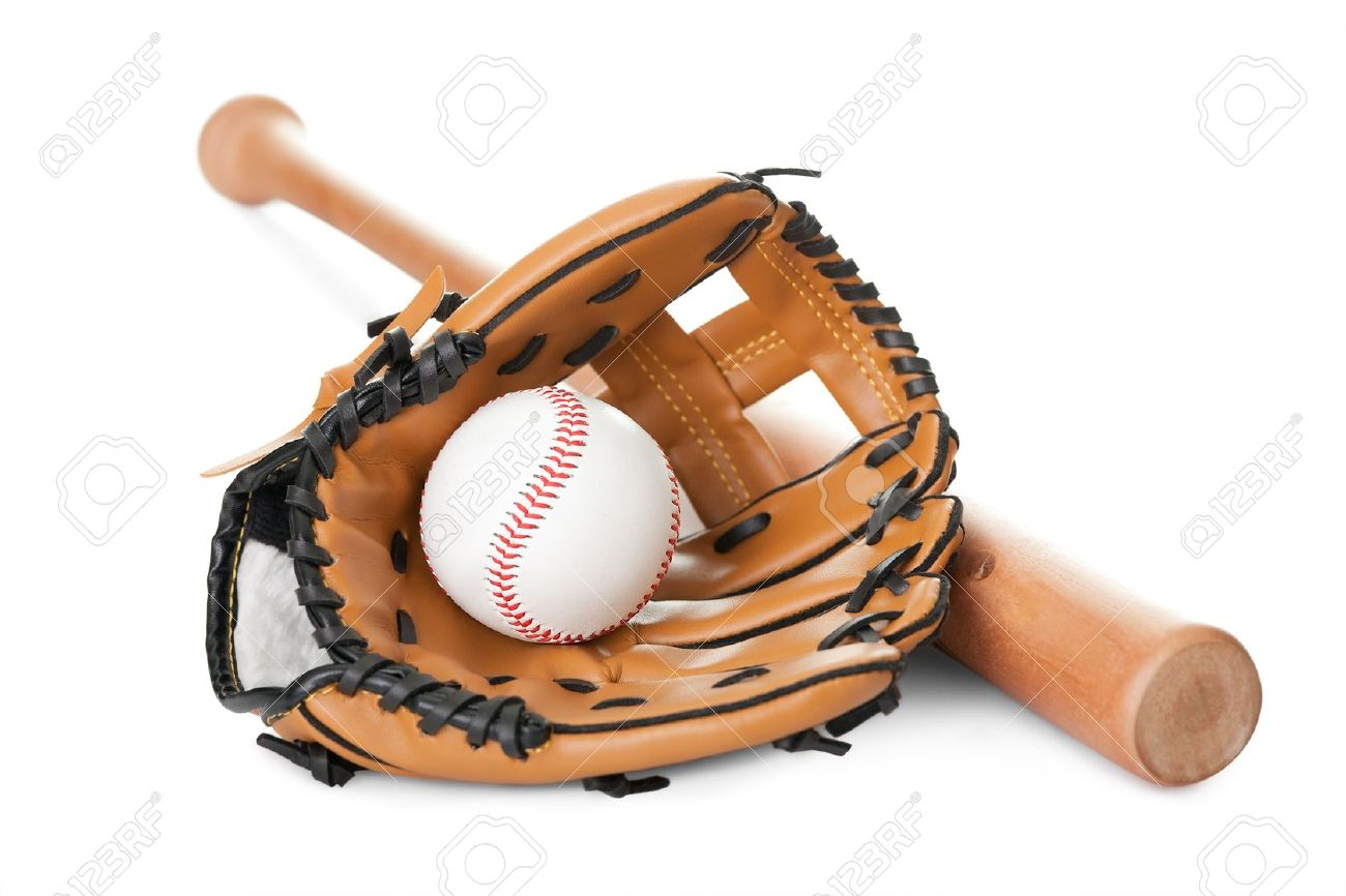 Leather glove with baseball and bat isolated over white background - 11080360
