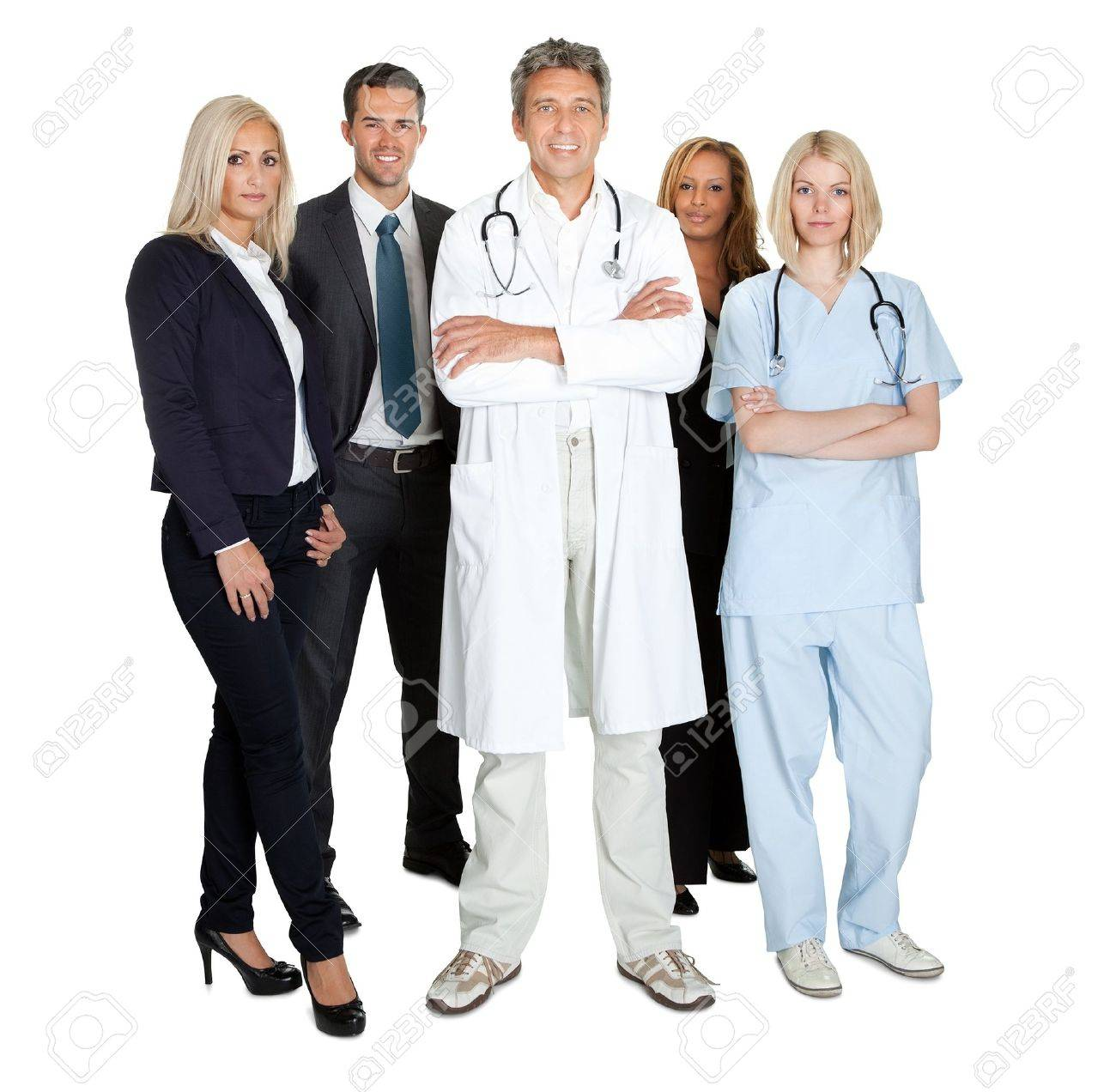 Portrait of a group of smiling working people isolated over white background Stock Photo - 11582331