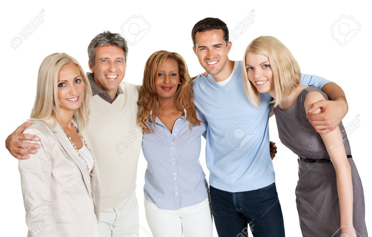 Group of happy people smiling isolated over white background Stock Photo - 11582305