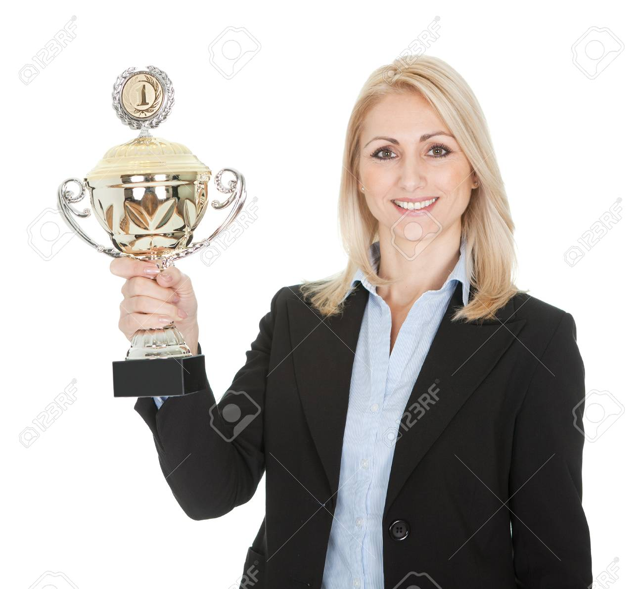 Businesswoman winning a trophy. Isolated on white Stock Photo - 12122804