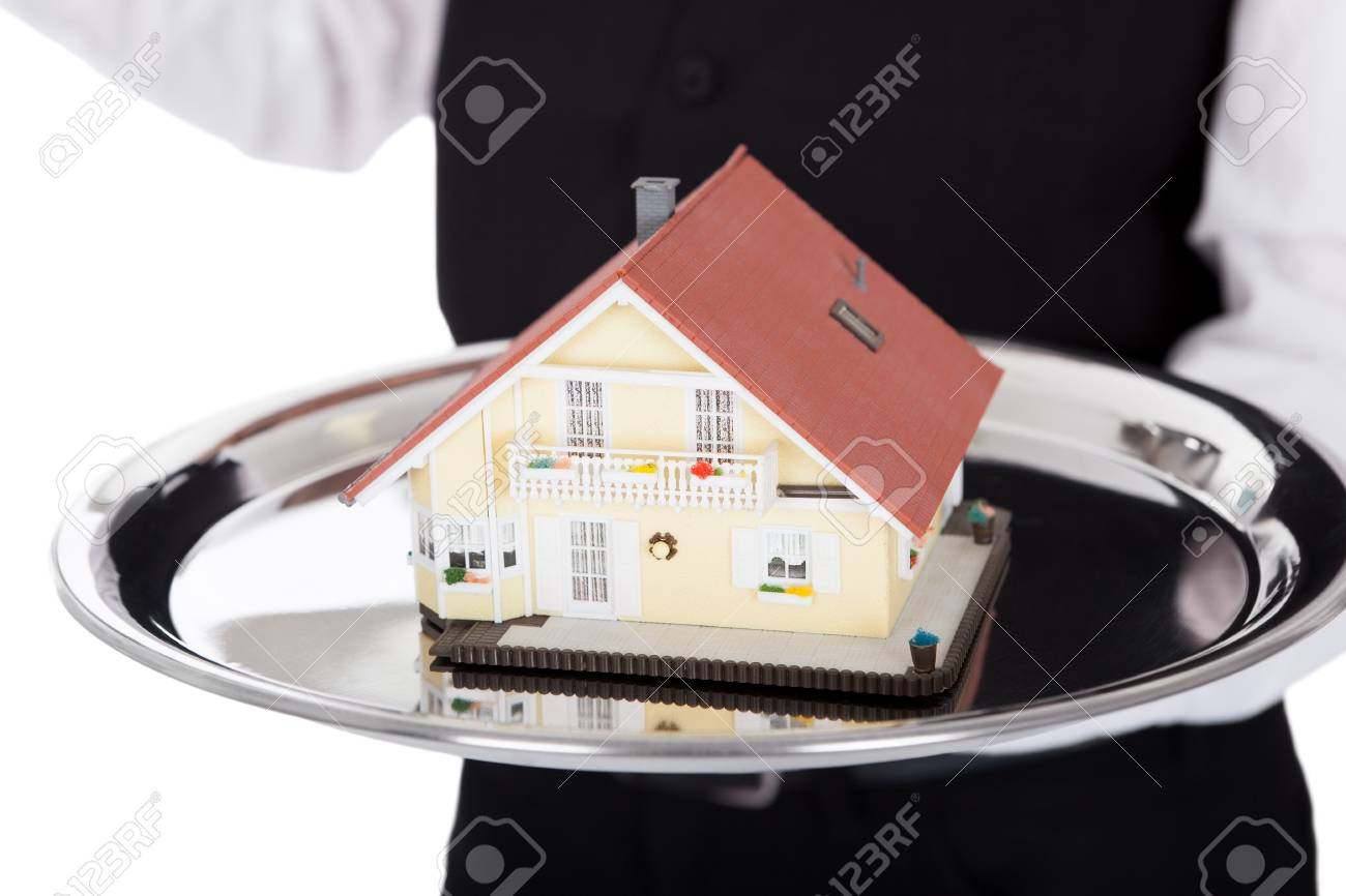 Close-up  of a butler with model of a house on tray. Isolated on white Stock Photo - 13888407
