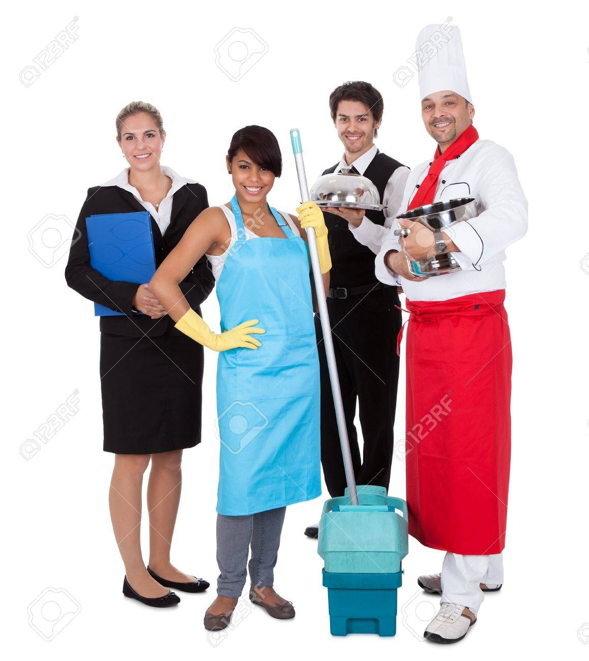 Diverse group of smiling workers. Isolated on white Stock Photo - 13888374