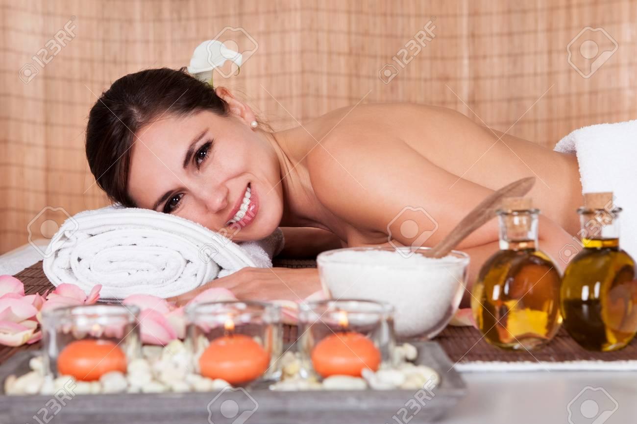 Portrait of beautiful young woman at spa salon Stock Photo - 14011698
