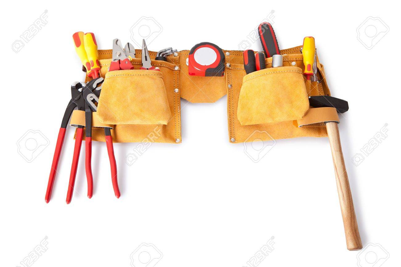 Toolbelt with various tools lying on the bench Stock Photo - 14182805
