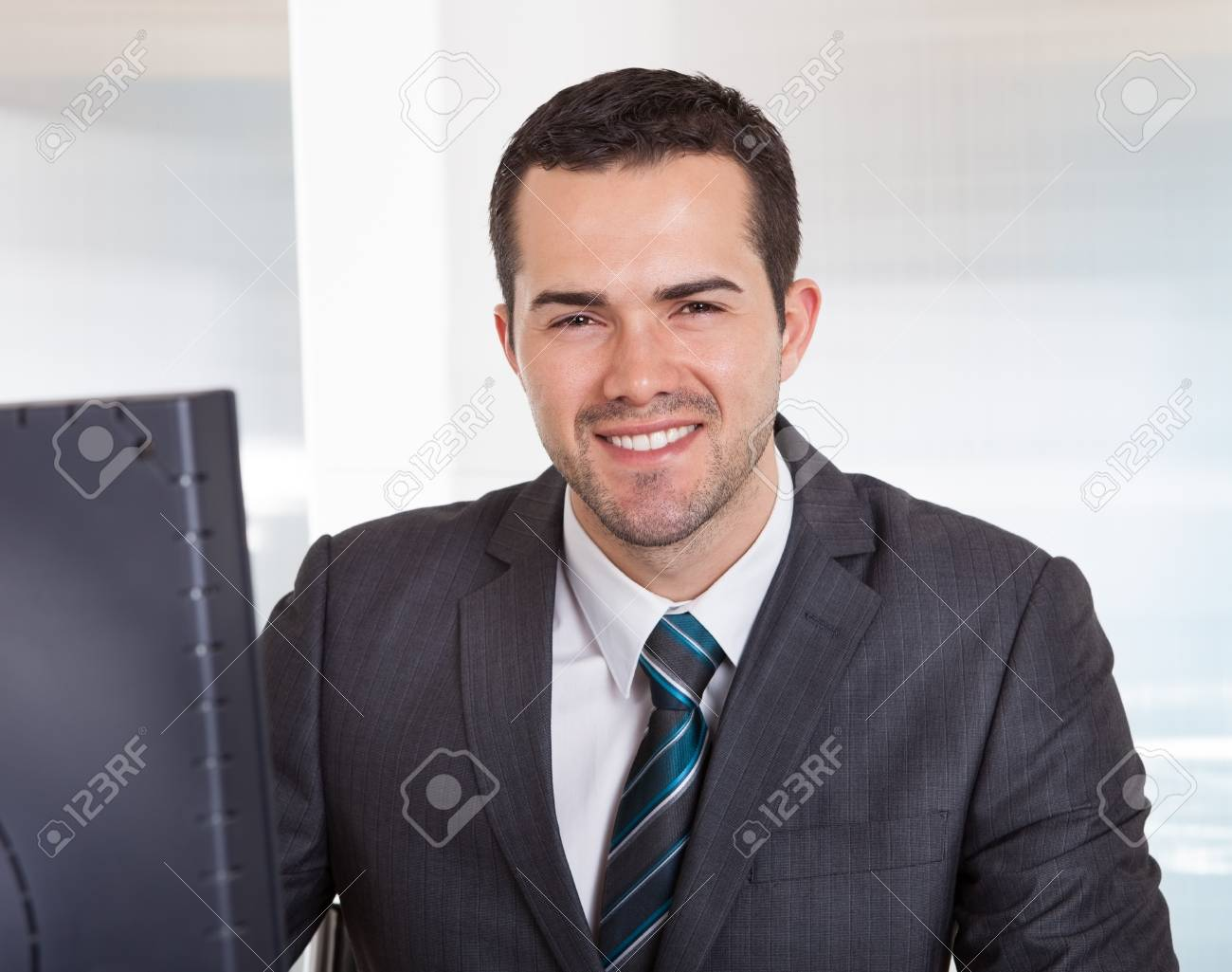 Successful businessman working at desk at the office Stock Photo - 14929729