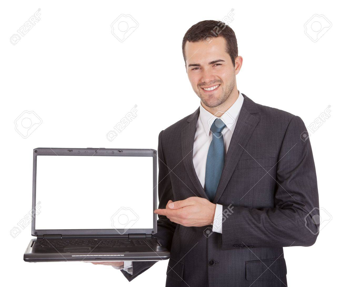 Portrait of successful businessman with laptop. Isolated on white Stock Photo - 14931867