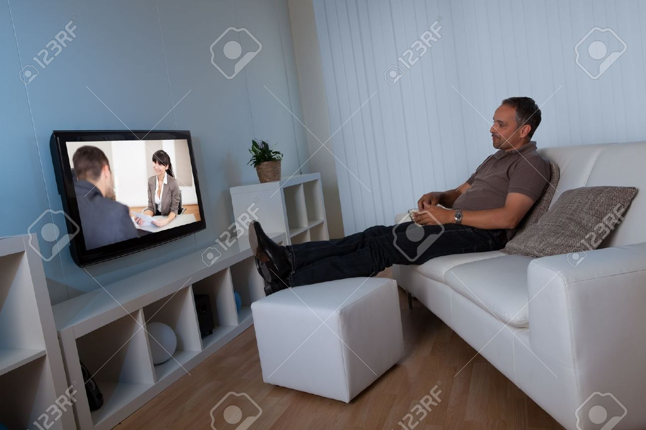 Man Living Room Man Recline Comfortably On His Living Room Couch Watching Home