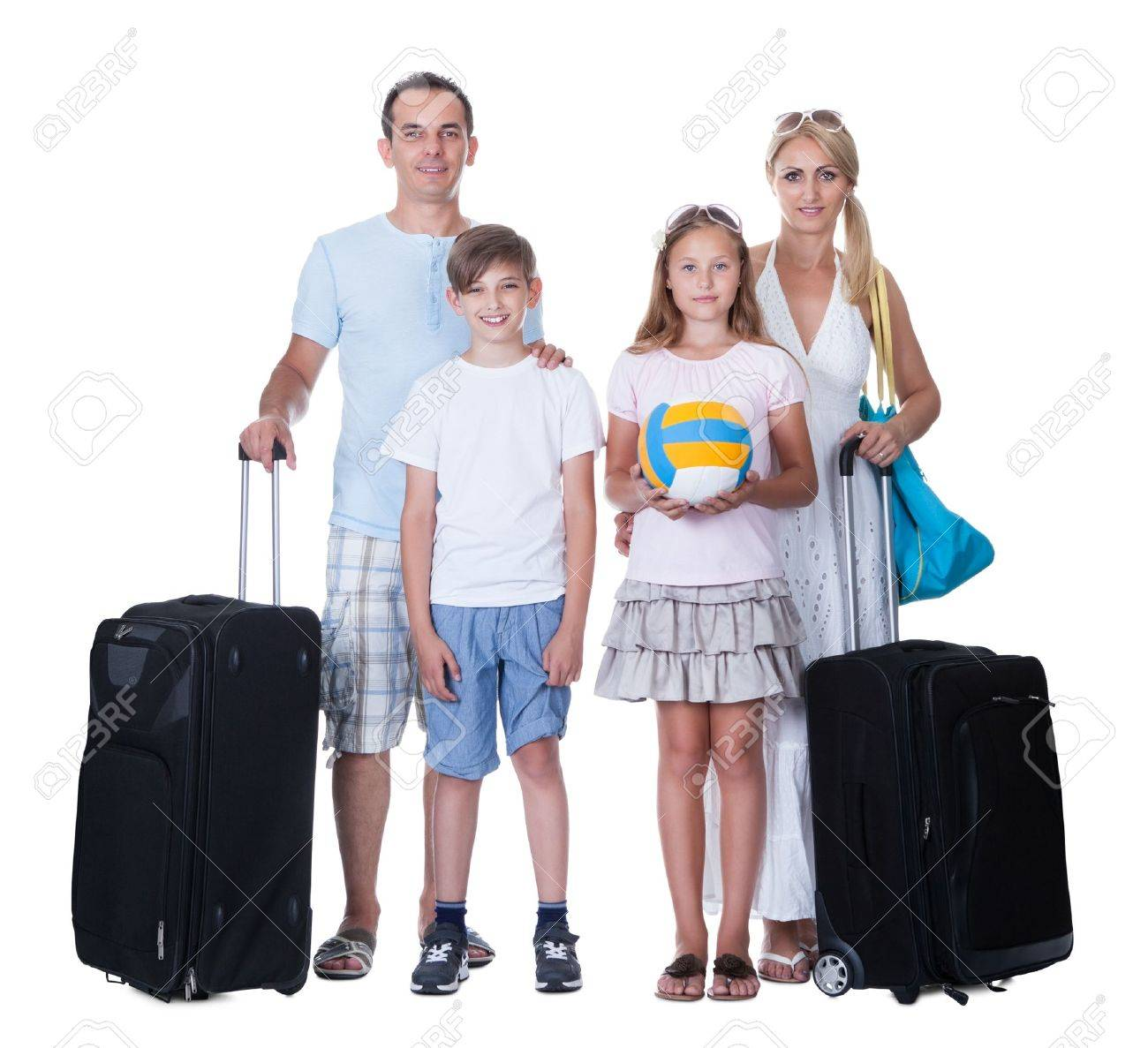 Happy Family With Luggage Going For Vacation Isolated On White Background Stock Photo