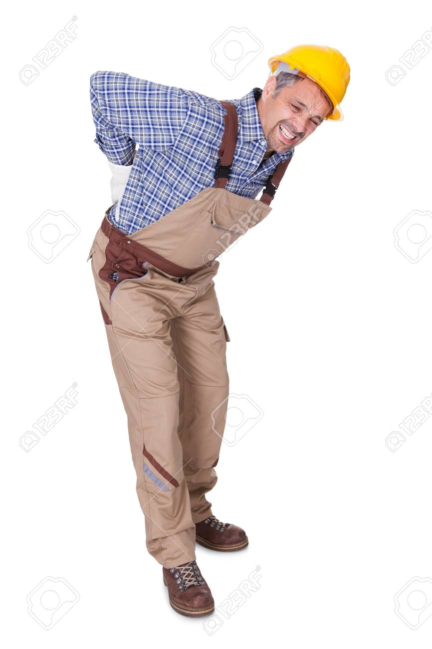 Portrait Of A Worker With Back Pain Isolated On White Background Stock Photo - 17501890
