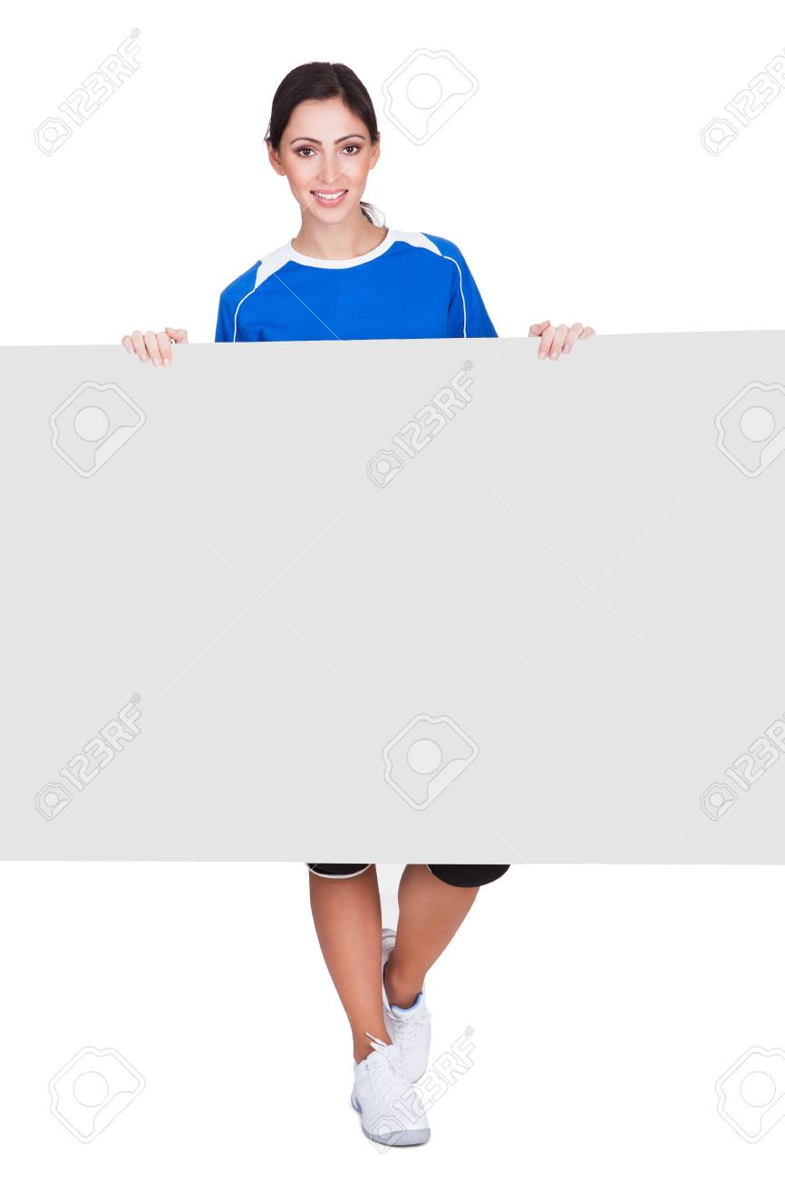 Sporty Woman Holding Blank Placard. Isolated On White Stock Photo - 17626425
