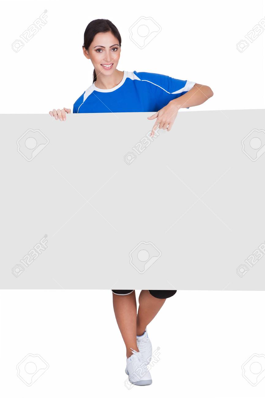 Sporty Woman Holding Blank Placard. Isolated On White Stock Photo - 17738692