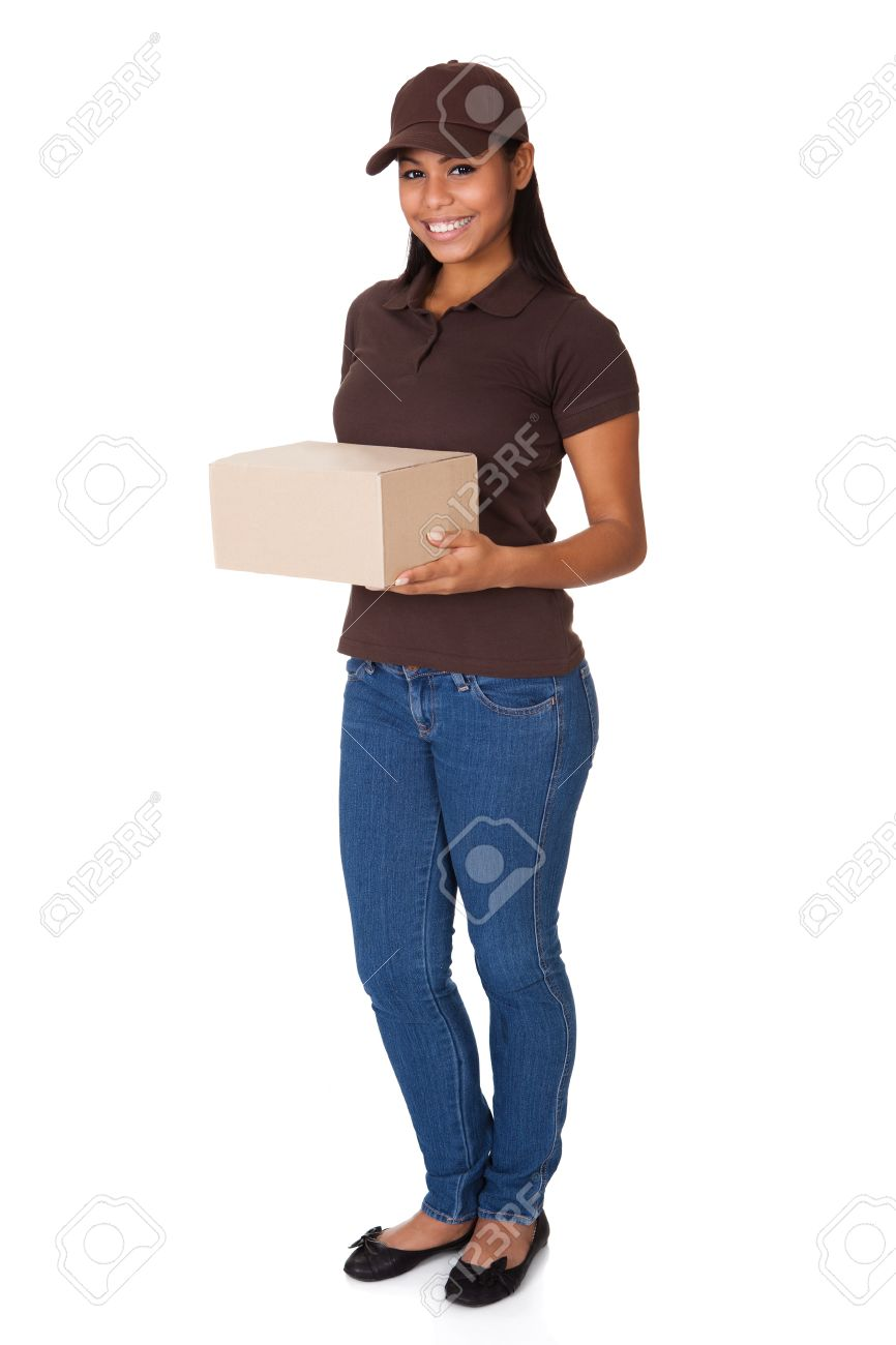 Post Delivery Service Woman. Isolated On White Background Stock Photo - 17738881