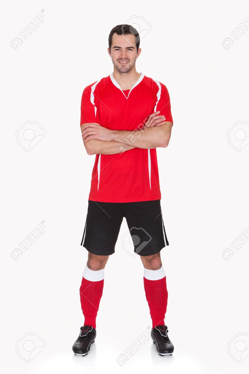 Portrait of professional soccer player. Isolated on white - 17825935
