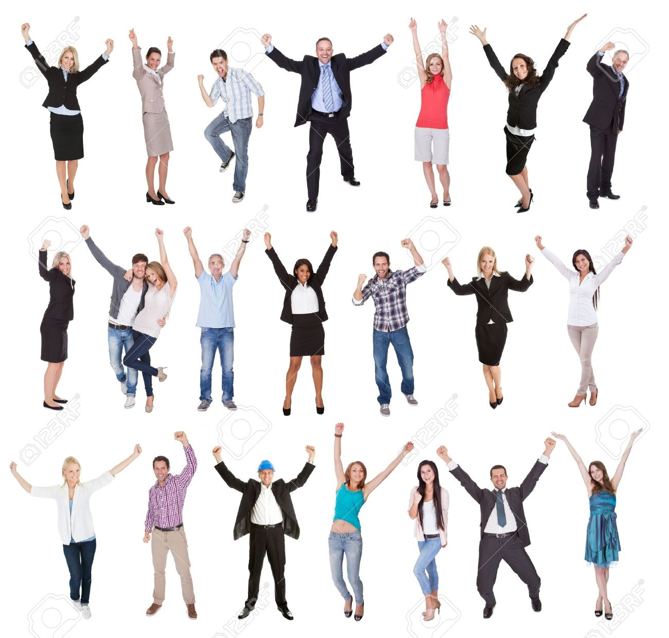 Photos of excited people cheering. Isolated on white background Stock Photo - 18065479