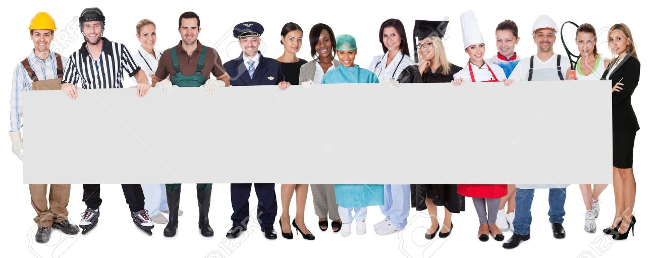 Group of diverse professionals presenting empty banner. Isolated on white Stock Photo - 18065489