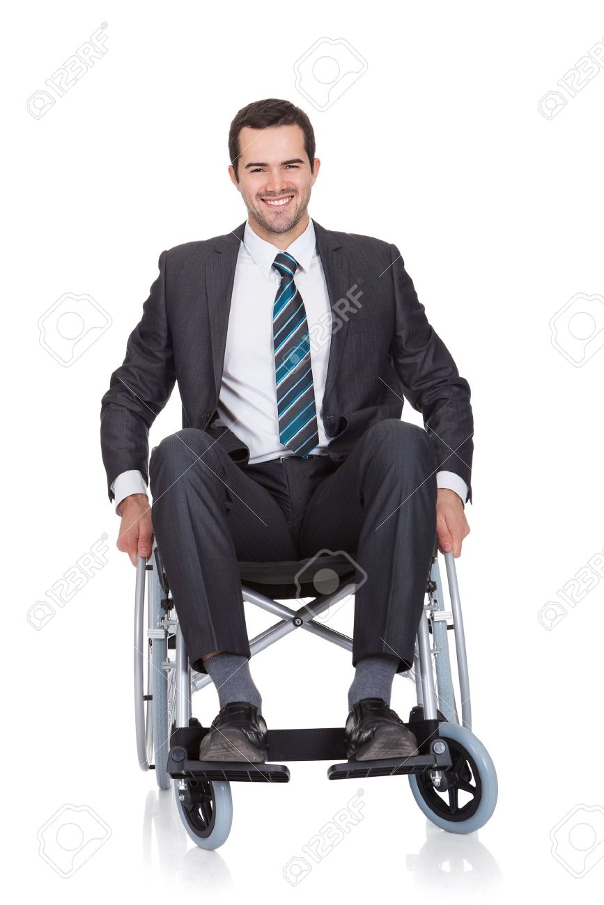 young businessman in wheelchair isolated on white stock photo