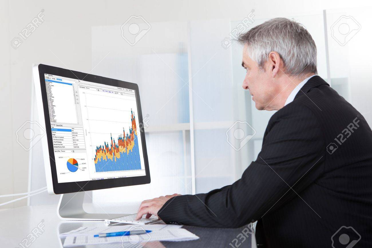 Mature Businessman Looking At Computer Showing Diagram Stock Photo - 20076849