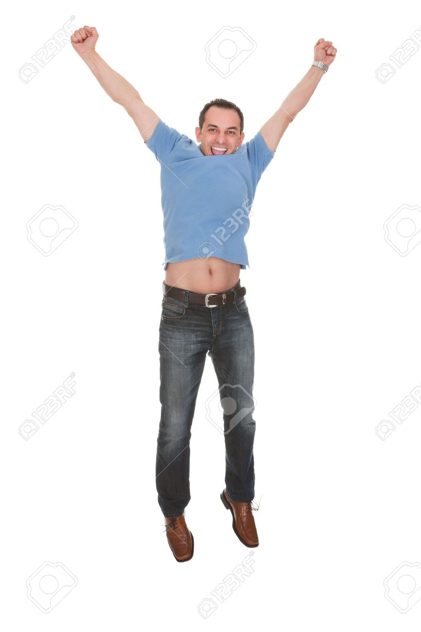 SD:s kris fördjupas. - Sida 39 20201586-Happy-Man-With-Arm-Raised-Over-White-Background-Stock-Photo-jumping
