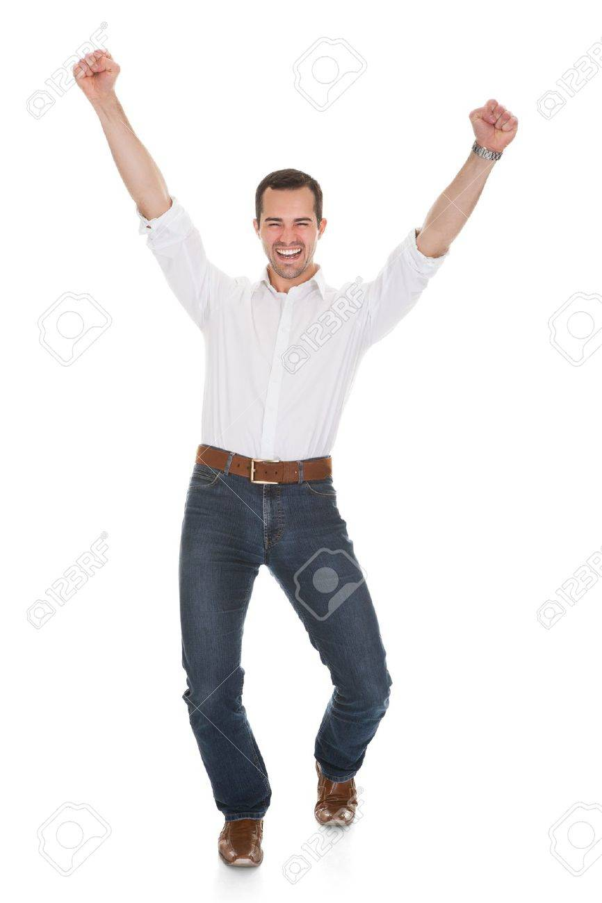 Happy Man With Arm Raised Over White Background Stock Photo - 20504668