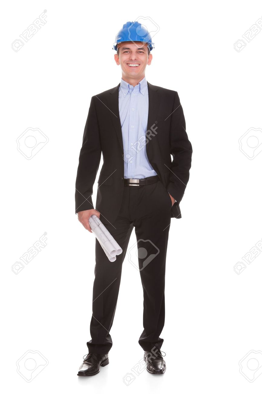 happy male architect standing over white background stock photo