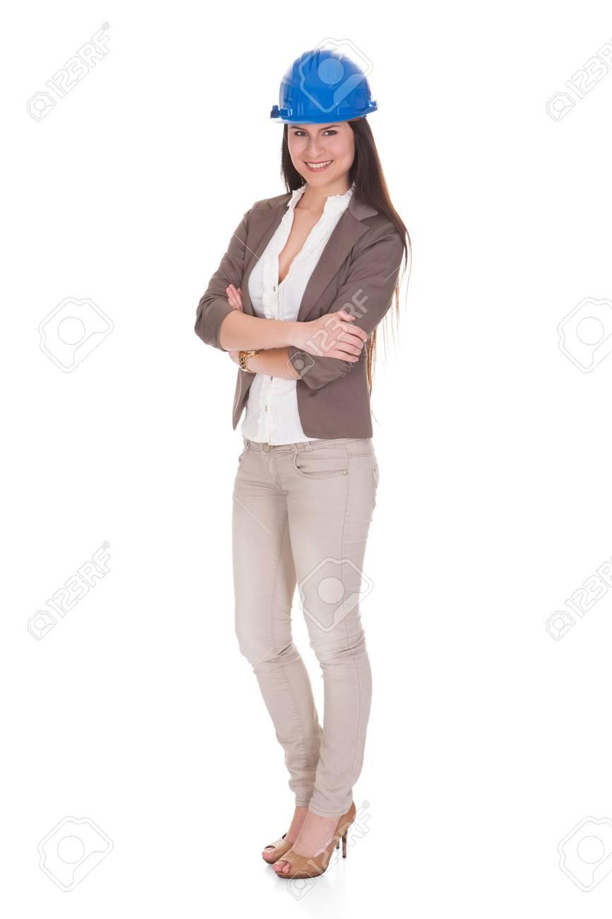 Happy Female Architect Standing Over White Background Stock Photo - 20508778