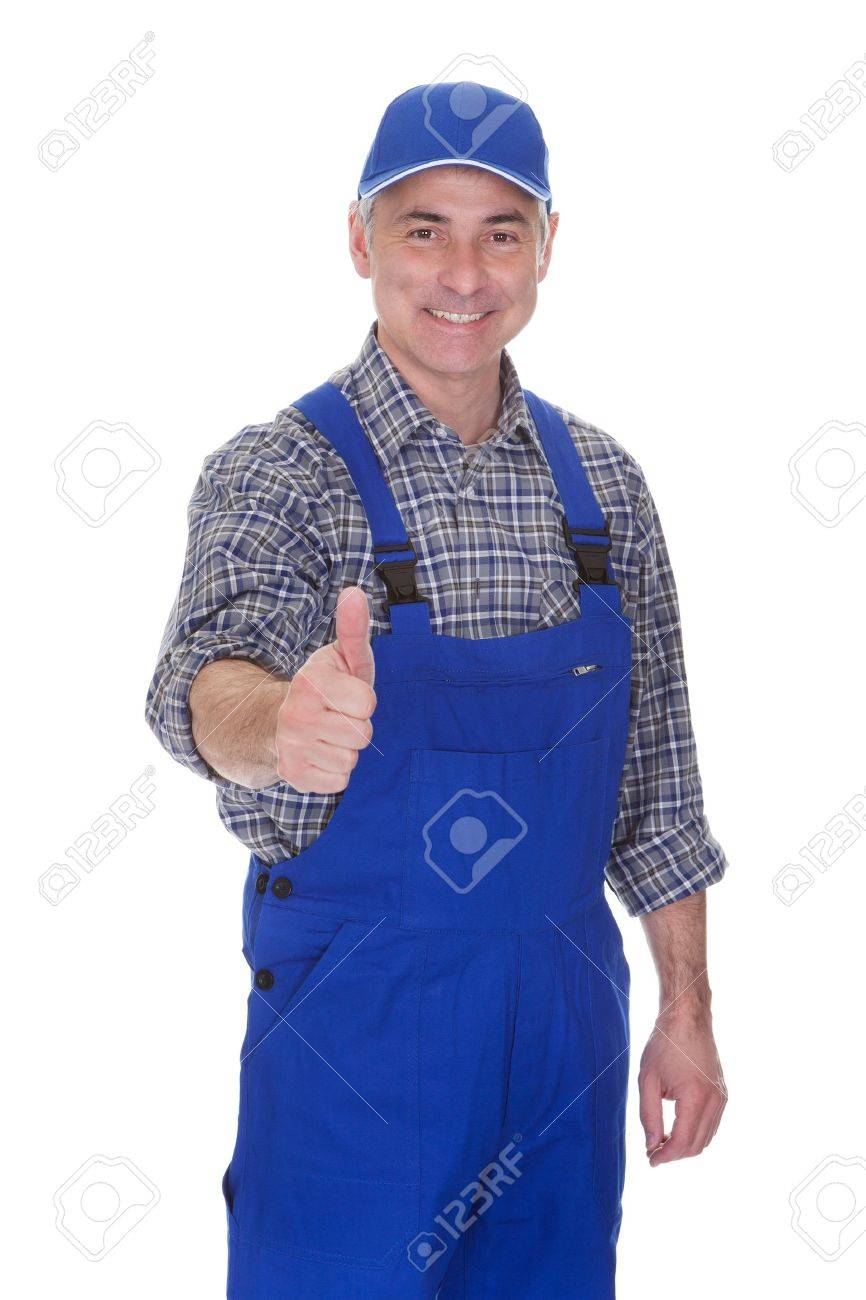 mature male technician making thumbs up gesture over white