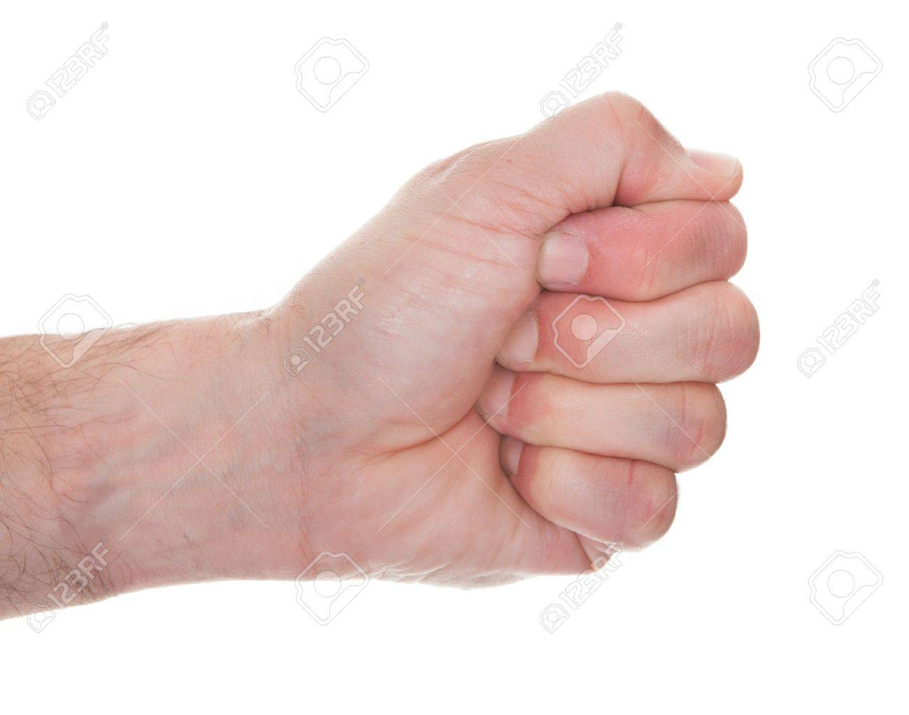 Close-up Man's Hand Clenching His Fist Over White Background Stock Photo - 20614929